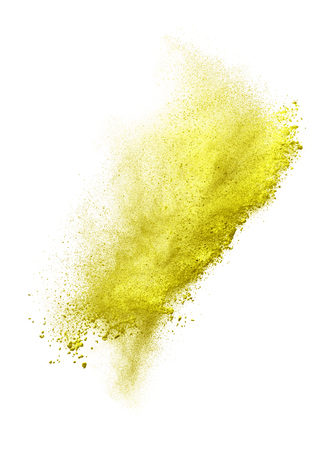 Launched colorful powder, isolated on white background. Stock Photo