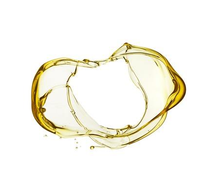 fioul: Olive éclaboussures d'huile isolé sur fond blanc. Banque d'images