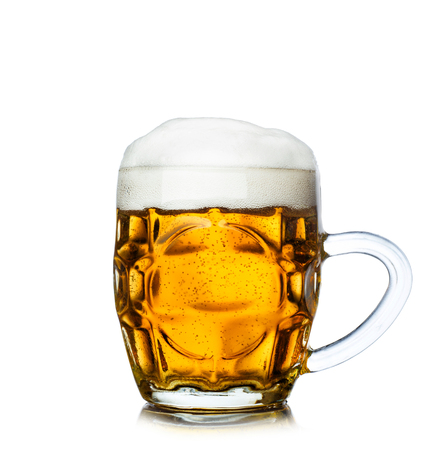 Glass of beer isolated on white background.