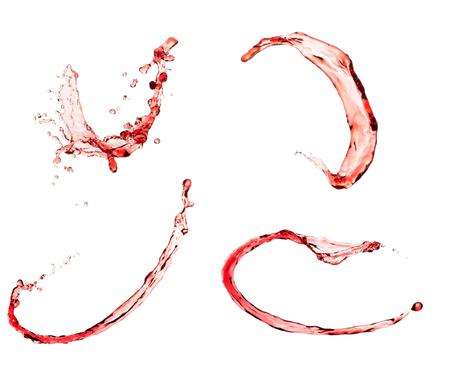 spewing: Red wine splash set, isolated on white background. Stock Photo