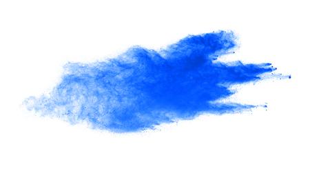 Blue powder explosion isolated on white background.
