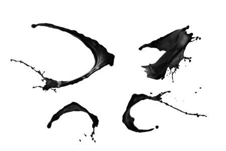 splash abstract: Black paint splash set isolated on white background.