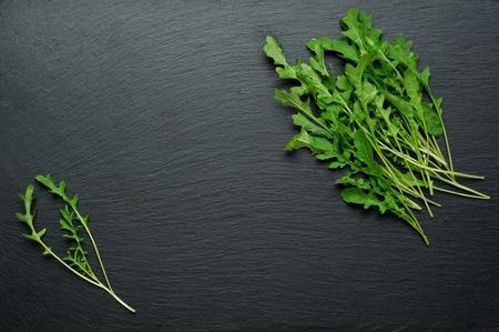 rukola: Fresh juicy arugula on a black background. Stock Photo