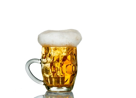 Frosty glass of light beer set isolated on a white background. Stock Photo