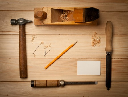 gouge: old carpenters tools for working with wood. Stock Photo