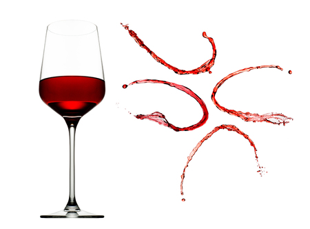 viscosity: Red wine splashes with glass isolated on white background.