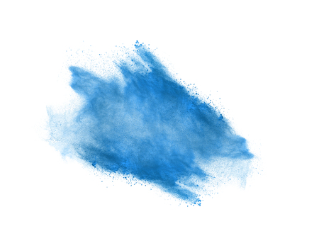 combustible: Powder explosion. Closeup of blue dust particle explosion isolated on background