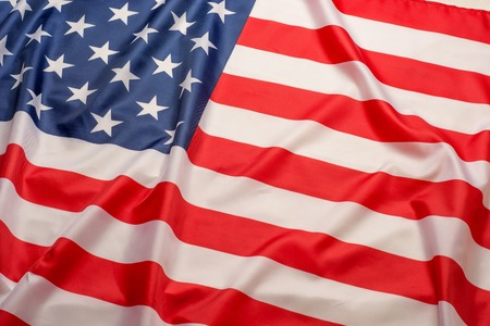 Beautifully waving star and striped American flag. Stock Photo