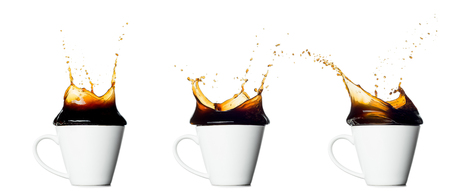 set of splashing coffee cup isolated on white background.