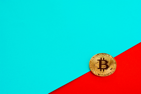 Bitcoin on colorful paper background with copy space Stock Photo
