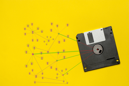 Floppy disk 3.5 inch nostalgia on yellow color background for creative design, CD, poster, book, printing, gift card, flyer, magazine, web & print