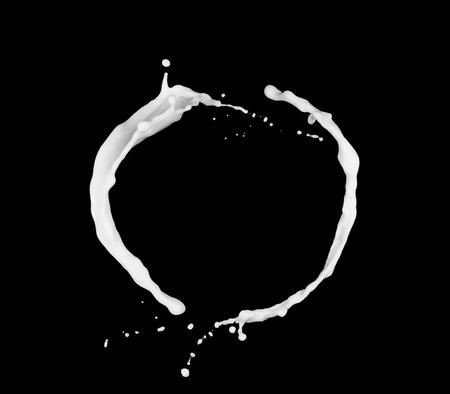 Ring of milk or white liquid splash isolated on black background