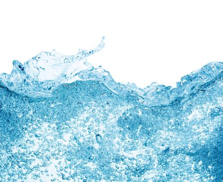 blue water surface with splash, waves and air bubbles on white background