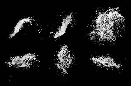 Set of sea salt splash explosion isolated on black background close up, freeze motion