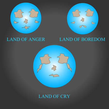 boredom: styles of land.anger,bordom,and cry.Illustration
