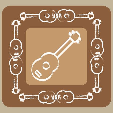 ukulele white halk line icon with frame and background,vector Illustration EPS10