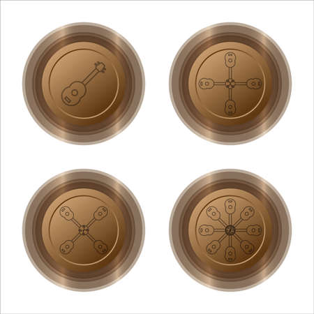 chromium: ukulele chromium copper web button set,vector Illustration EPS10