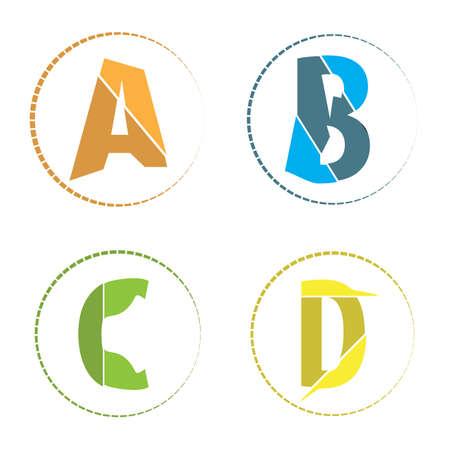 simple logo: abstract simple flat a b c d alphabet logo icon,vector Illustration EPS10 Illustration