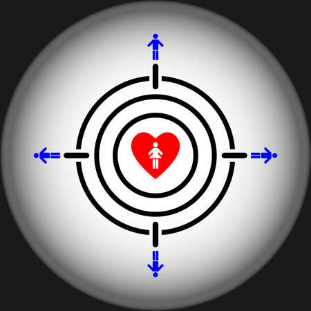 man aiming girl heart target concept