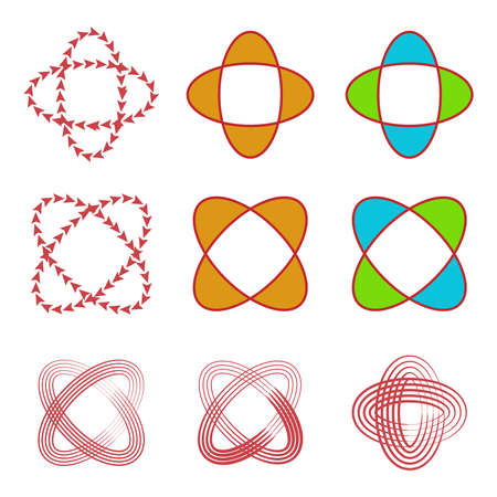 abstract circular line,arrow,and shape logo set,vector Illustration EPS10 Illustration