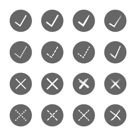 super cross: check mark right and wrong icons set,vector Illustration EPS10