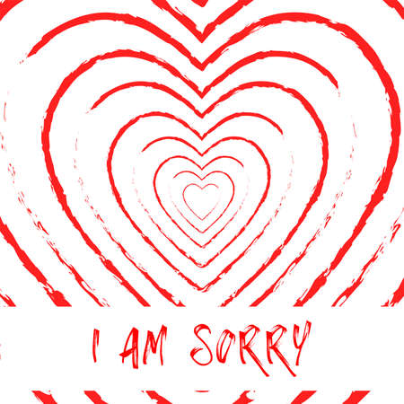 I am sorry blood heart grunge style background,vector Illustration EPS10
