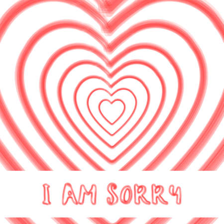 watercolor heart shape I am sorry text background,vector Illustration EPS10