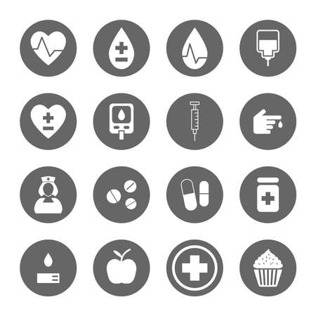 diabetes syringe: Diabetes icons set,vector Illustration EPS10