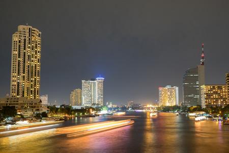 river scape: Bangkok city scape river view from taksin bridge Stock Photo