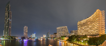 river scape: Bangkok city scape river view from taksin bridge panorama Editorial