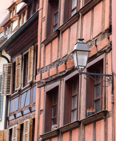fachwerk: Street view and lamp with alsace building Strasbourg,France