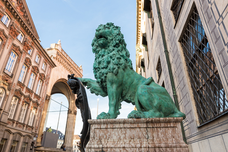 residenz: bavarian lion at odeonsplatz,munich,Germany Stock Photo