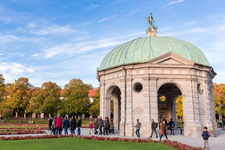 city park pavilion: Munich,Germany - Oct 24,2015 : Pavillion at Hofgarten at noon in autumn Editorial
