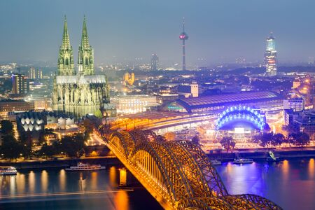 cologne: Aerial view of Cologne and hohenzollern bridge,Cologne,Germany Stock Photo
