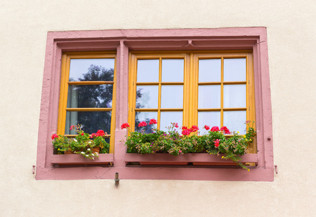 fachwerk: Old french window decorate in alsace ,France
