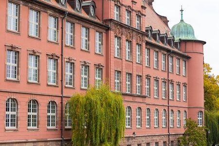 fachwerk: Ecole de Musique St Thomas in Strasbourg,France Stock Photo