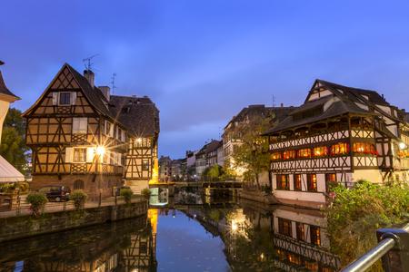 historical reflections: Strassbourg at dusk,France