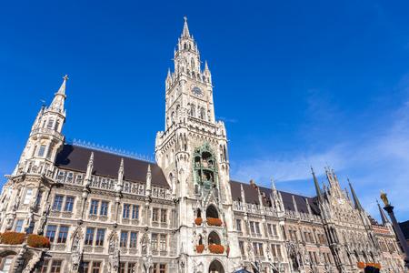 residenz: Town hall at Marienplatz at noon in Munich,Germany
