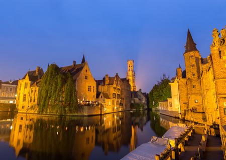 bruges: Bruges at dusk,Belgium Stock Photo