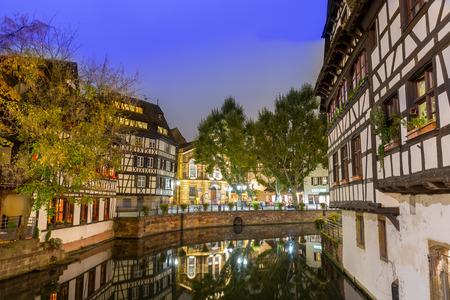 historical reflections: Strassbourg France at dusk Stock Photo