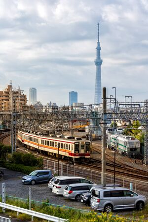 View of tokyo and tokyo skytree with train in Japan