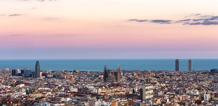 Sagrada Familia and panorama view of barcelona city,Spain