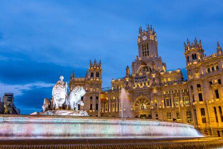 Plaza de la Cibeles at dusk Madrid,Spain Editorial