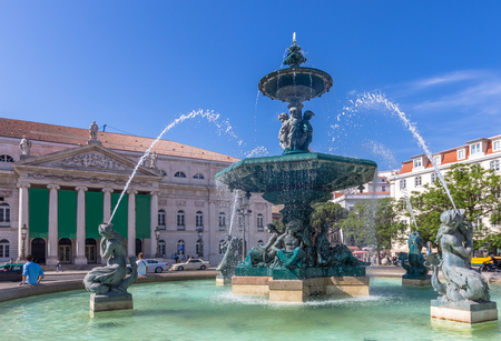 Rossio square old town in baixa district on sunny day at Lisbon,Portugal Stock Photo