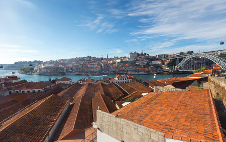 Porto oldtown wine port skyline with douro river on summer,Portugal