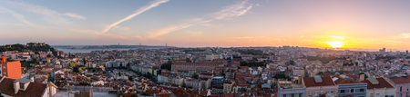 Lisbon city panorama skyline sunset ,Portugal Stock Photo