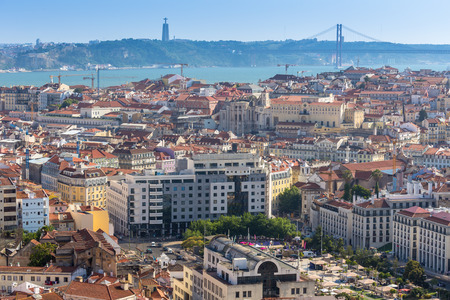 Aerial view of lisbon city ,Portugal Stock Photo