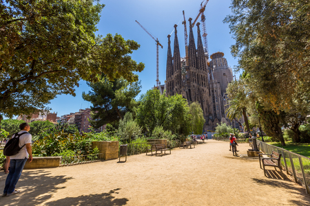 Barcelona city and sagrada familia at sunny day,Spain Editorial