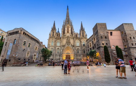 Barcelona cathedral at dusk,Spain Editorial