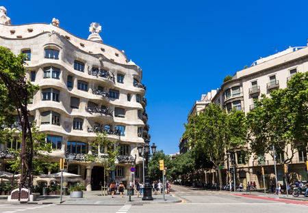 BARCELONA,SPAIN - JUNE 16,2017:Popularly known as La Pedrera It was the last private residence designed by architect Antoni Gaudí and was built between 1906 and 1910. Editorial